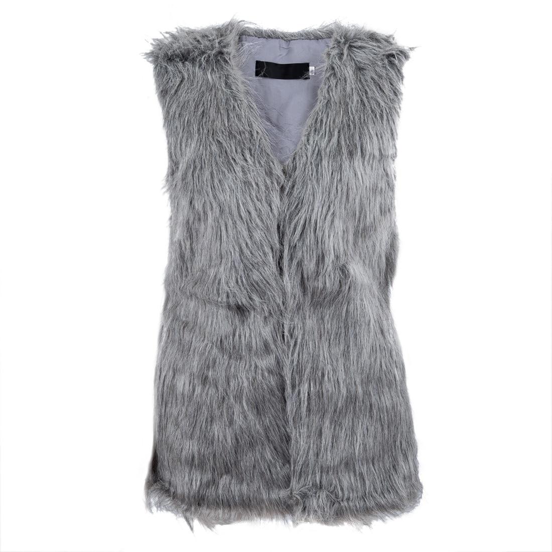 e195bda83cc227 Mulheres da Pele Do Falso GiletMid-longo Outwear Colete - skin care us95