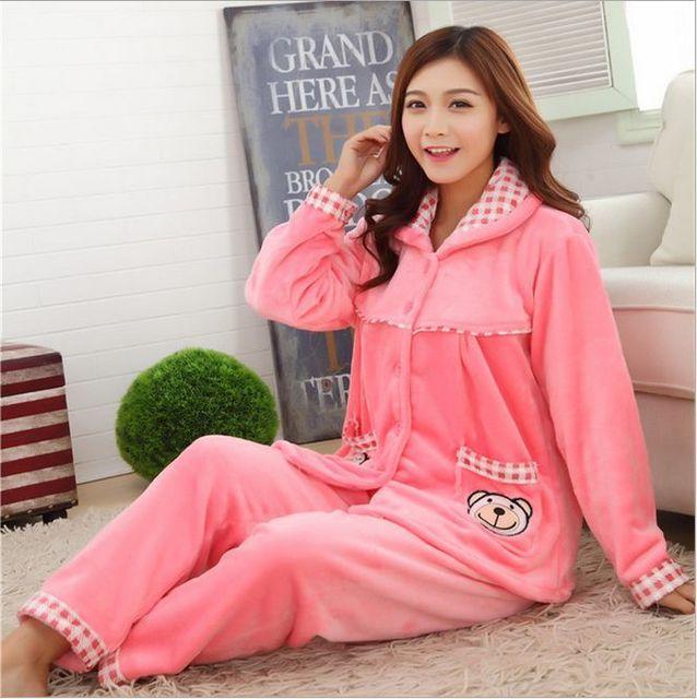 2016 New Autumn/winter flannel pajamas thickening women sets sleepwear sweet female girl Indoor Clothing Home Suit SIZE 'M-XXXL'