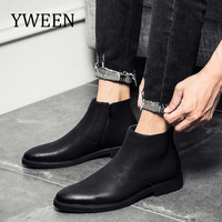 YWEEN Men Leather Chelsea Boots Autumn Winter Men Boots Fashion Leather Boots For Men