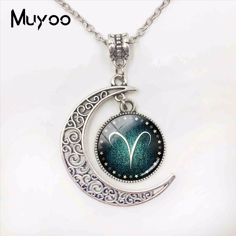 Handmade Fashion Jewelry 12 Zodiac Signs Moon Pendants Glass Dome Pisces Aquarius Zodiac Signs Jewelry Pendant Necklace image