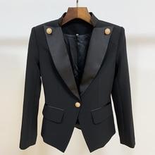 HIGH STREET Blazer pour femme, veste pour femme, avec un seul bouton et un bouton, col orné en Satin, nouvelle collection 2020