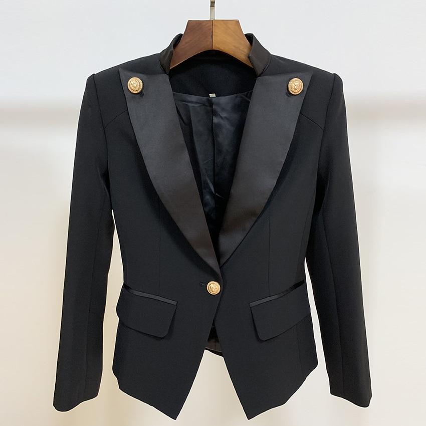 HIGH STREET New 2019 Designer Stylish Blazer Women's Single Button Lion Button Embellished Satin Collar Blazer Jacket