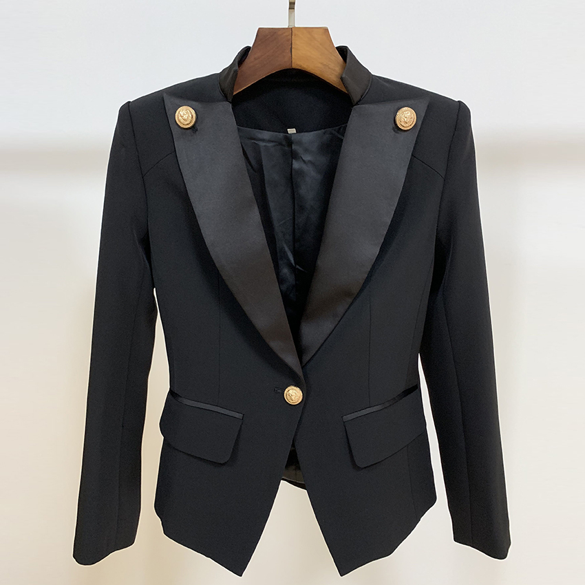 HIGH STREET New 2020 Designer Stylish Blazer Women's Single Button Lion Button Embellished Satin Collar Blazer Jacket