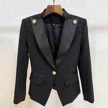 HIGH STREET New 2020 Designer Stylish Blazer Womens Single Button Lion Button Embellished Satin Collar Blazer Jacket
