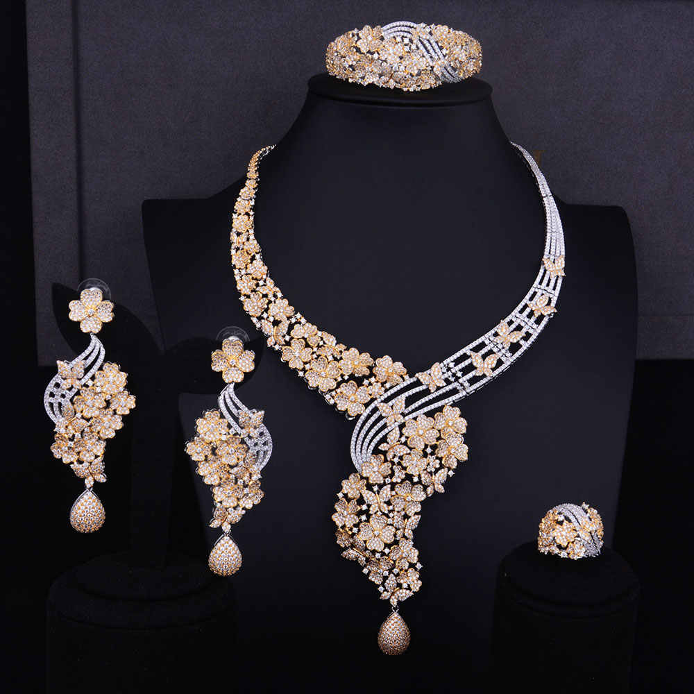 GODKI Big Luxury Flower Boom Women Engagement Cubic Zirconia Necklace Earring Dubai Jewelry Set Jewellery Addiction