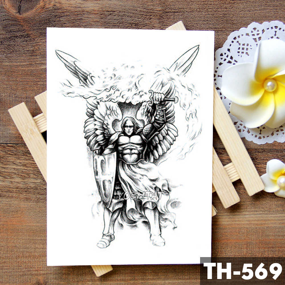 날개 거룩한 천사 방수 임시 문신 스티커 용감한 기사 전사 플래시 문신 바디 아트 팔 가짜 문신