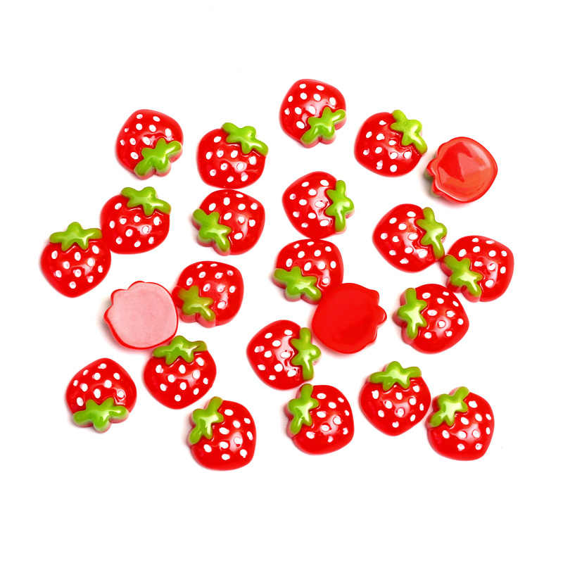 LF 40Pcs Mixed Resin Strawberry Decoration Crafts Flatback Cabochon Embellishments For Scrapbooking Kawaii Cute Diy Accessories