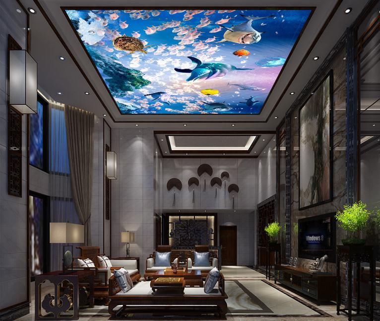 Customized 3d photo wallpaper 3d ceiling wallpaper murals Sea world fish ceiling murals 3d living room for wall decor