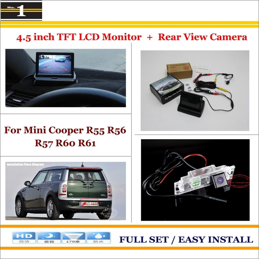 Car Reverse Backup Rear Camera 4 3 LCD Screen Monitor 2 in 1 Rearview Parking System