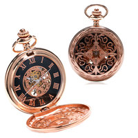 New Arrvial Fashion Retro Hollow Pattren Case Roman Number Skeleton Dial Fob Pocket Watch With Chain