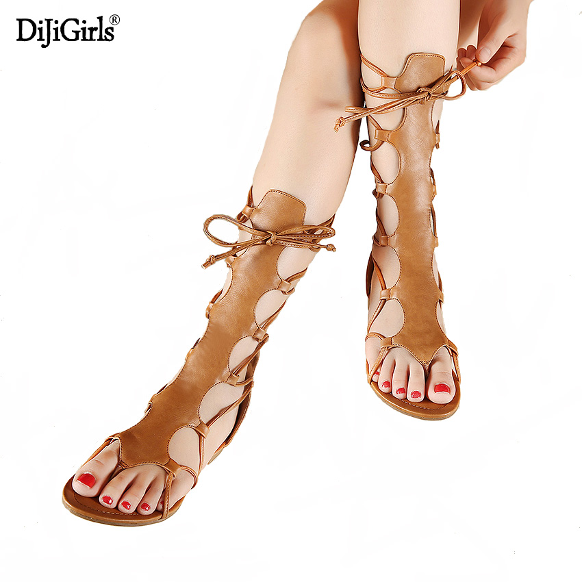 Summer Gladiator Boots Cross Strap Sandals Thong Roman