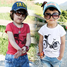 2016 Summer Male Female Baby Child Cotton Short-Sleeve Bicycle Bike Print T-Shirt
