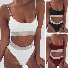 High Waist Bikini Set S M L Swimwear Solid Sexy Swimsuit Female Elastic Swimming Suit Women Brazilian Bikini Set Push Up Bathers