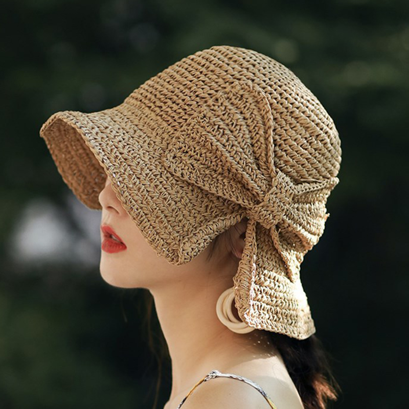 Women Summer Hat Wide Brimmed Raffia Bow Panama Foldable Women Hat Elegante Bucket Straw Hat Foldable Beach Sun Shade Hat Caps