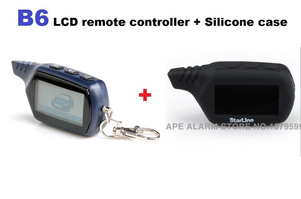 imágenes para 2017 Envío gratis Negro Funda de Silicona + B6 coche LCD llavero de control remoto de $ number vías sistema de alarma del coche Starline B6 B6