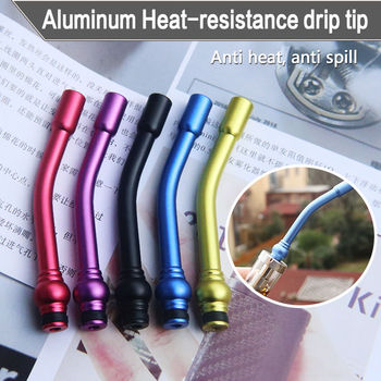 Fast free ship from US Aluminum 510 drip tip long curved bent mouthpiece for atomizer RDA RBA фото