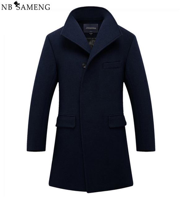 Novo Homem Casaco de Lã Longo Trench Coat Inverno Peacoat dos homens Mens Casaco de Lã dos homens do Sobretudo Roupas Casacos Masculinos M-2XL 13W0270