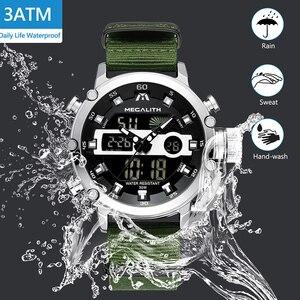 Image 5 - MEGALITH Sport Casual zegarki mężczyźni Luminous wodoodporne mężczyźni Top marka luksusowe data LED analogowy zegarek kwarcowy zegar Relogio Masculino