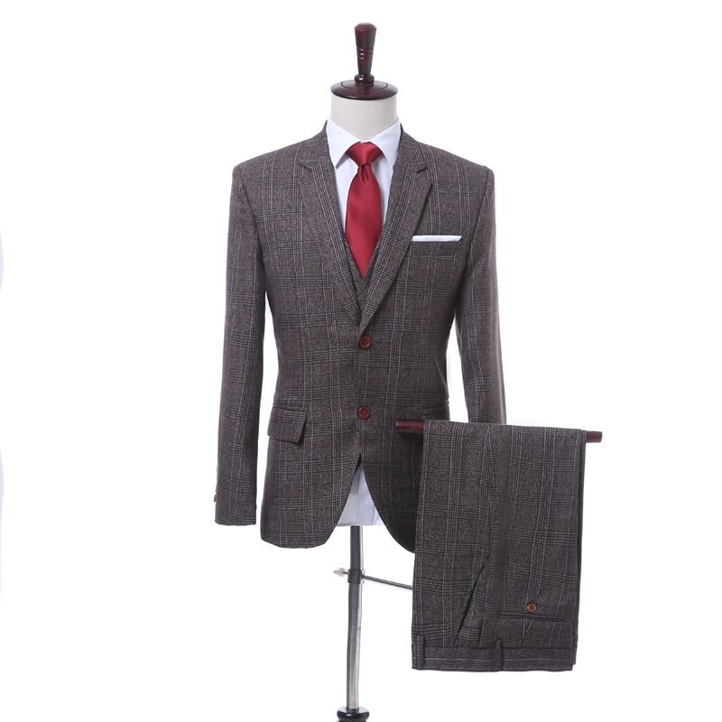 Venta caliente Padrinos de Boda Muesca Solapa Esmoquin Del Novio Por Encargo Trajes de Boda Mejor Hombre Chaqueta (Jacket + Pants + + Tie + Vest) C87