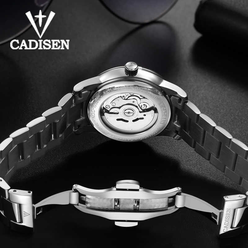 ساعة CADISEN للرجال NH36A الحركة الميكانيكية مجموعة التلقائي الذاتي الرياح الفولاذ المقاوم للصدأ الياقوت 5ATM مقاوم للماء رجال الأعمال المعصم