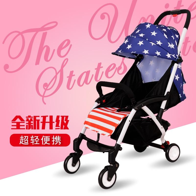Hadnd four wheel baby car light folding child baby portable car umbrella baby stroller ultra light portable shock absorbers bb child summer baby hadnd car umbrella