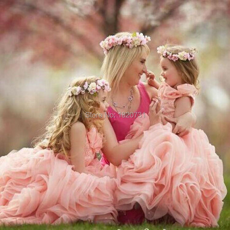 2019 Baby Pink   Flower     Girl     Dress   Little   Girl   Formal Pageant   Dresses   Appliques Ruffles Sweep Train organza Ball Gown