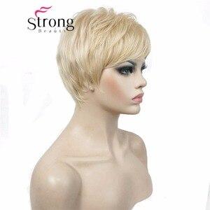 Image 3 - Strongbeauty 슈퍼 짧은 레이어드 및 spikey 금발 전체 합성 가발 가발 블랙 브라운 색상 선택