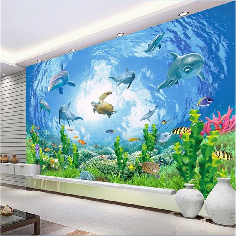 Honesty Custom Mural 3d Photo Wallpaper Broken Wall Deep Sea Animal Dolphin Home Decor Room 3d Wall Murals Wallpaper For Walls 3 D Home Improvement