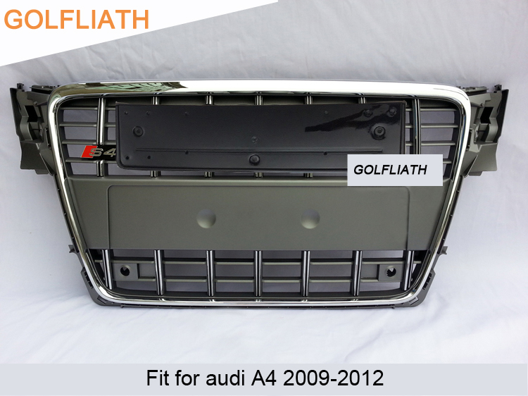 GOLFLIATH S4 Style Chrome Frame black/gray painted ABS Front Bumper Grill Mesh Grille Fit For Audi A4 B8 S4 8K Avant 2009-2012 golfliath sq5 style black painted chrome frame honeycomb mesh front grille for audi q5 2009 2012
