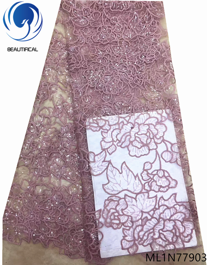 Beautifical african lace fabrics elegant embroidery net lace fabric with sequins fashion french lace for dress 5yards ML1N779Beautifical african lace fabrics elegant embroidery net lace fabric with sequins fashion french lace for dress 5yards ML1N779