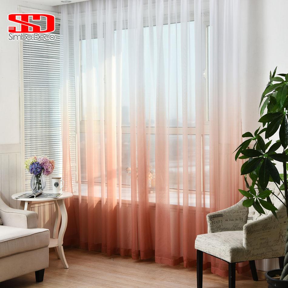 Gradient Color Window Tulle Curtains For Living Room Girls Bedroom Children Voile Veil Liner