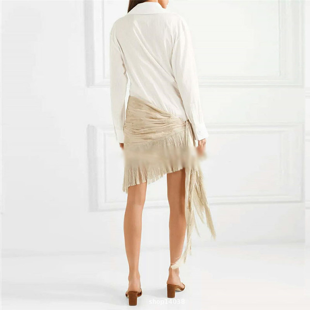 9faef81d515f Runway Tassel Patchwork Dress Womens V Neck Long Sleeve Embroidery  Irregular Midi Shirt Dresses Summer Fashion Vintage