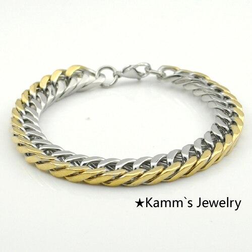 6ff0bce63c6f 10 mm   22 cm oro plata pulsera de acero inoxidable moda hombre joyería  pulseiras música Rocker promoción navidad venta al por mayor KB600 en  Cadena y del ...