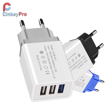 CinkeyPro USB Charger 3-Ports Fast Charging for Samsung iPhone XiaoMi Wall Mobile