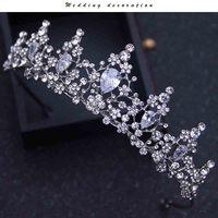 Wedding Bridal Tiara Crown Clear Zircon Crystal Rhinestones Women Handmade Brides Diadem Pageant Party Crowns Tiara
