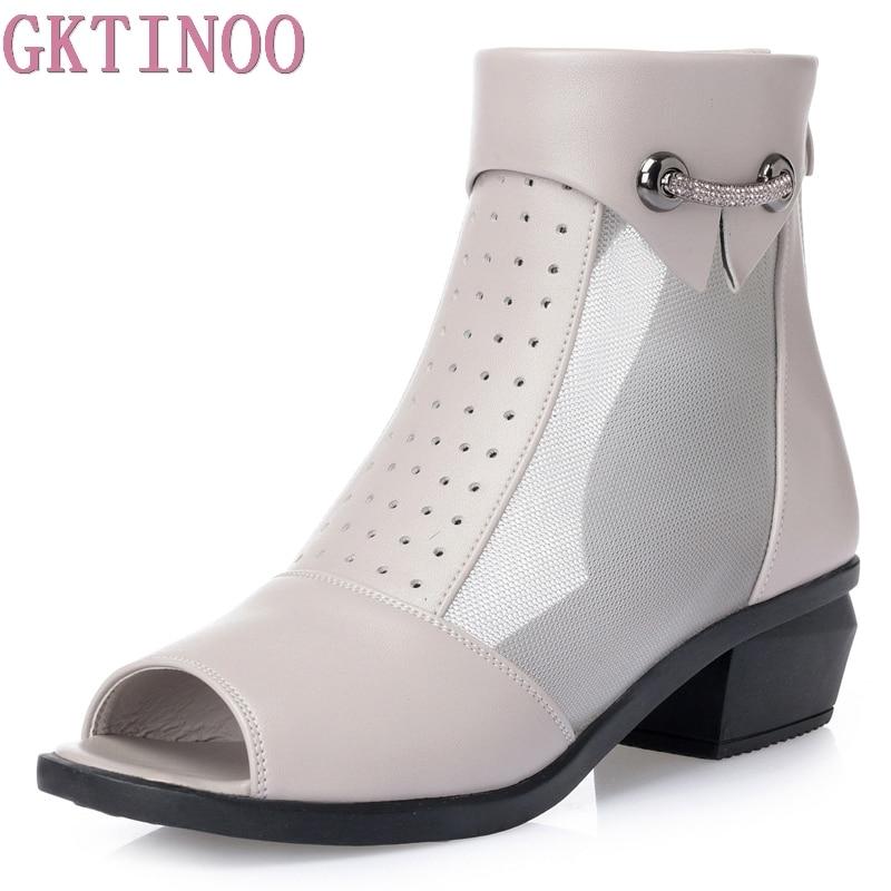 Femme Femmes gris Hauts La Taille Toe Plus Sandales Summer Bottes Gktinoo Mode Maille Dames Beige Cheville Peep noir Pour outs Chaussures Talons Zip New Cut wXqaaUSf
