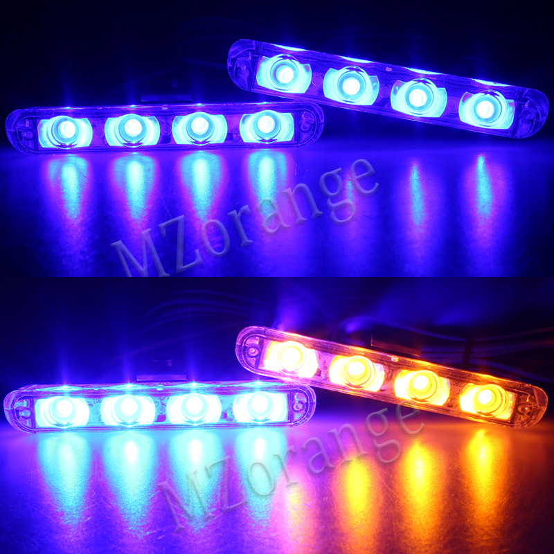 Best Quality 2x4 Led Warning light Ambulance Police light DC 12V Car Light Flashing Firemen Lights Blue Strobe Car Styling in Car Light Assembly from Automobiles Motorcycles