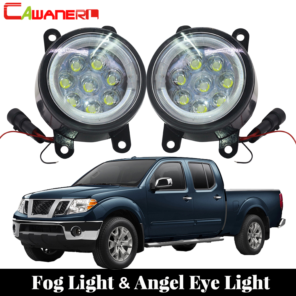 Cawanerl 2 Pieces Car Light Source LED Bulb Fog Light Angel Eye DRL Daytime Running Light 12V For 2005-2015 Nissan Frontier hopstyling 2pcs led angel eyes drl fog light for nissan pathfinder 2005 2015 daytime running lamps 3 in 1 function car styling