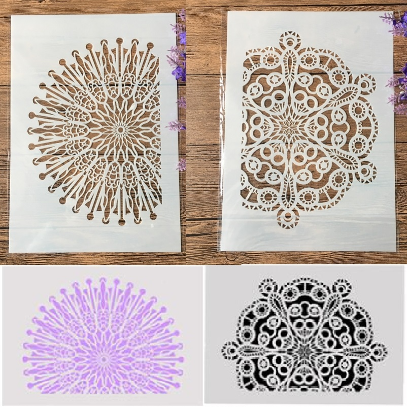 2Pcs A4 Half Circle Wheel Round DIY Craft Layering Stencils Painting Scrapbooking Stamping Embossing Album Paper Template