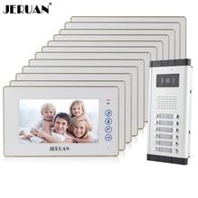 "JERUAN Apartment Doorbell intercom 7"" Video Door Phone Intercom System 12 White Touch key Monitor 1 HD Camera for 12 Household"