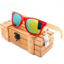 BOBO BIRD CG003 Fashion  Unisex Sunglasses Colorful Polarized Lens And Red Plastic & Bamboo Frame Glasses With Wooden Box oculos