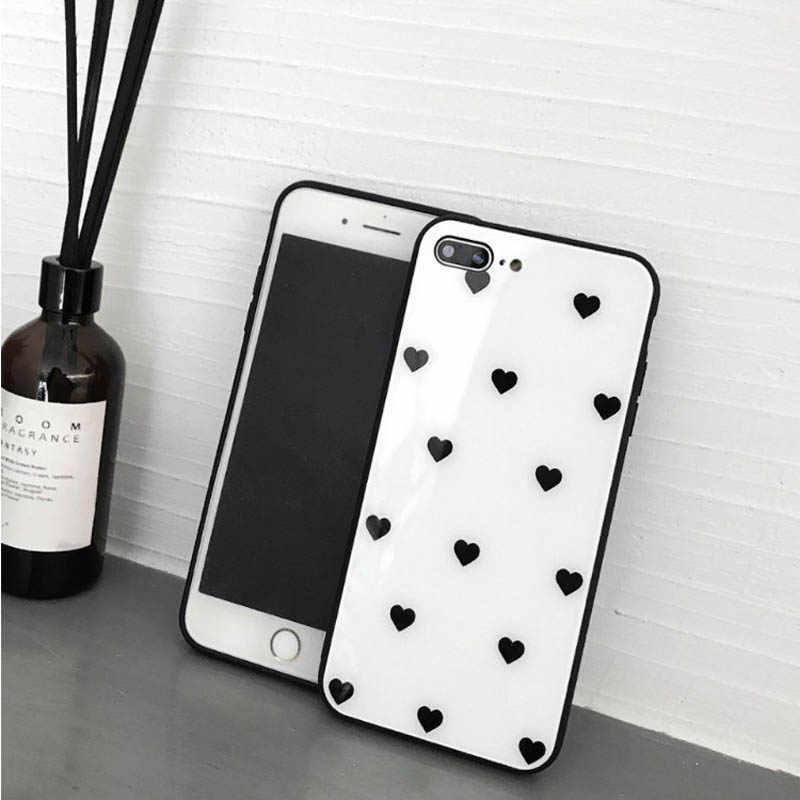 ChấM Bi Trái Tim Nhỏ Tất Cả-Đã bao gồm Bộ Kính Cường Lực cho iPhone6s 7 8 Cá Tính Thời Trang Thả chống Ốp Lưng Điện Thoại cho iPhoneX XS XR MAX