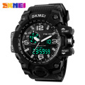 New SKMEI Brand Men's Sports Military Watches Men Analog LED Digital Watch PU strap Big dial Alarm Clock Wristwatches