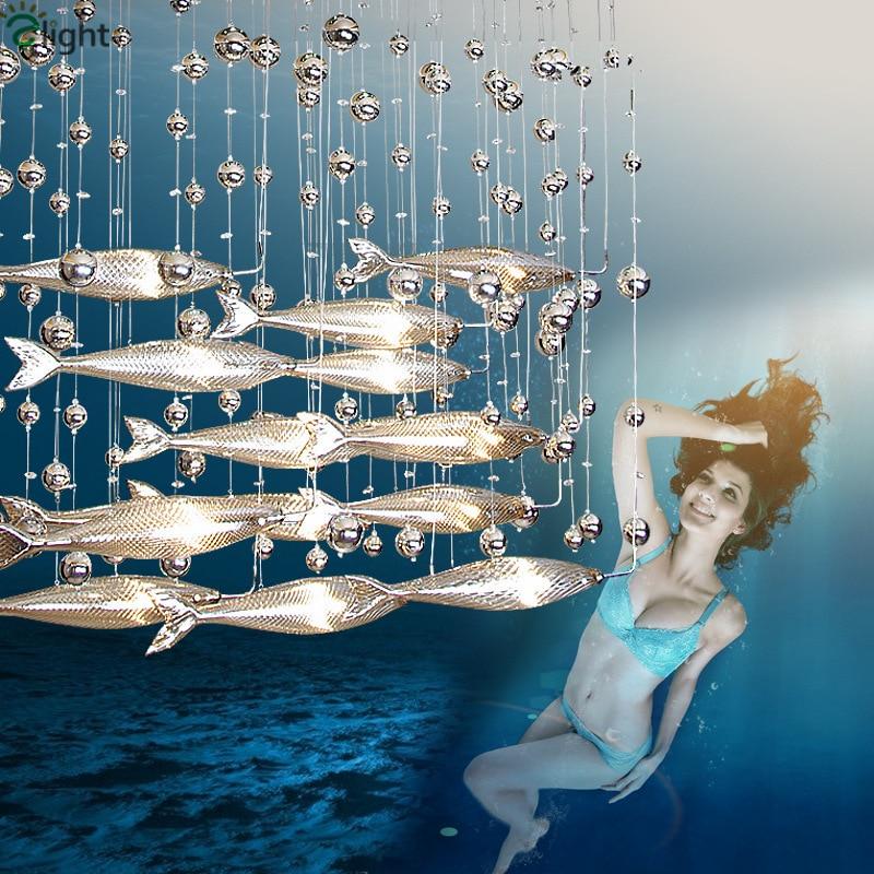 modern led flying fish glass glass pendant chandelier. Black Bedroom Furniture Sets. Home Design Ideas