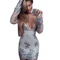 XS Bandage Dress Celebrity Dresses Women Deep V Neck Long Lseeve Bodycon Mini Sequin Dress To