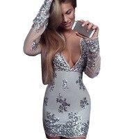 XS Bandage Dress Celebrity Dresses Women Deep V Neck Long Lseeve Bodycon Mini Sequin Dress To