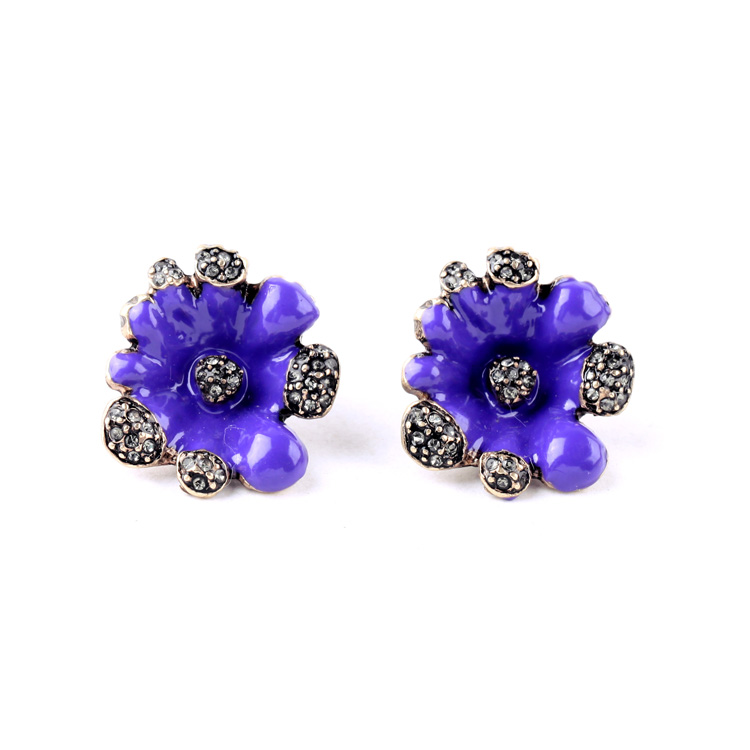 Purple Ear Studs Nickle Free Turkish Alloy Spike Special Store New Arrival Enamel Earrings ...