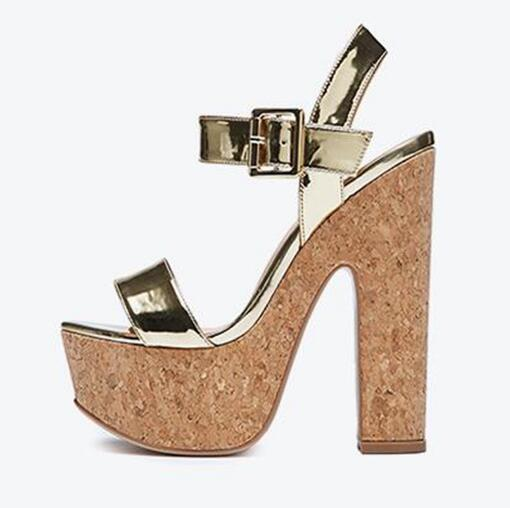 Newest Gold Leather High Heel Sandal for Woman 2018 Wooden Platform Thick Heels Gladiator Shoes Sexy Open Toe Sandal new woman platform high heel sandal 2018 summer rivets studded gladiator shoes sexy open toe wedge sandal silver gold