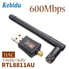 Kebidu Mini 5Ghz 2.4Ghz 600 mb/s Adapter USB WiFi RTL8811AU na komputer stacjonarny/Laptop/PC bezprzewodowy dwuzakresowy 802.11ac hurtownia