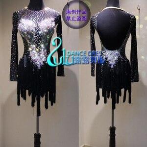 Image 1 - ラテンダンスのドレスの女性女の子最新スタイルのセクシーなラテンダンスアパレルラテンダンスドレス Balck ダンスドレス